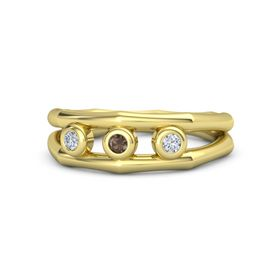 Round Smoky Quartz 14K Yellow Gold Ring with Diamond