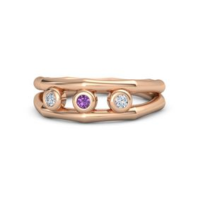 Round Amethyst 18K Rose Gold Ring with Diamond