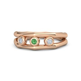 Round Emerald 18K Rose Gold Ring with Diamond