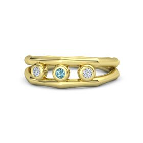 Round London Blue Topaz 18K Yellow Gold Ring with Diamond