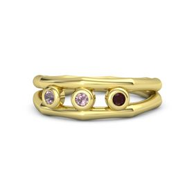 Round Rhodolite Garnet 18K Yellow Gold Ring with Red Garnet and Rhodolite Garnet
