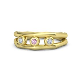 Round Pink Sapphire 18K Yellow Gold Ring with Diamond