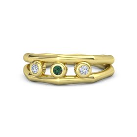 Round Alexandrite 18K Yellow Gold Ring with Diamond