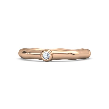 14K Rose Gold Ring with Diamond Bamboo e Stone Ring