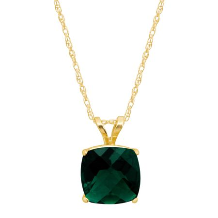 1 1/2 ct Emerald Cushion-Cut Birthstone Pendant