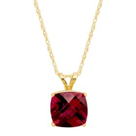 2 ct Ruby Cushion-Cut Birthstone Pendant
