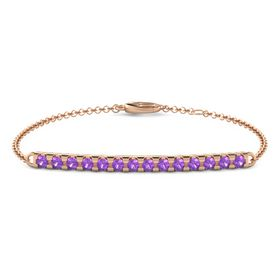 14K Rose Gold Bracelet with Amethyst