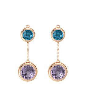 14K Rose Gold Earring with Rose de France and London Blue Topaz