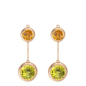 14K Rose Gold Earring with Lemon Quartz and Citrine