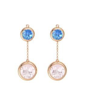 14K Rose Gold Earring with Rose Quartz and Blue Topaz