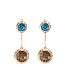 14K Rose Gold Earrings with Smoky Quartz & London Blue Topaz