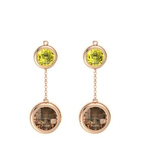 14K Rose Gold Earring with Smoky Quartz and Lemon Quartz