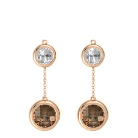 14K Rose Gold Earring with Smoky Quartz and Rock Crystal