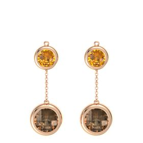 14K Rose Gold Earrings with Smoky Quartz & Citrine