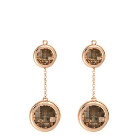 14K Rose Gold Earrings with Smoky Quartz