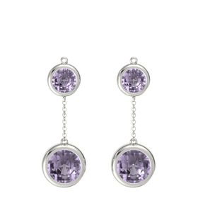 14K White Gold Earrings with Rose de France