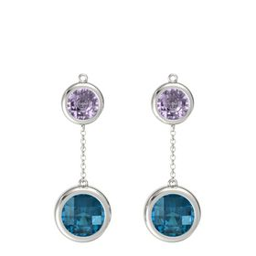 14K White Gold Earring with London Blue Topaz and Rose de France