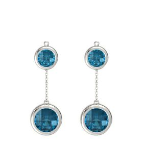 14K White Gold Earring with London Blue Topaz