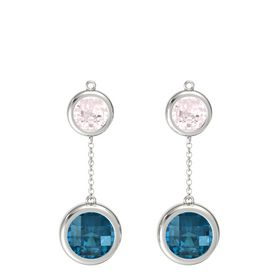 14K White Gold Earring with London Blue Topaz and Rose Quartz