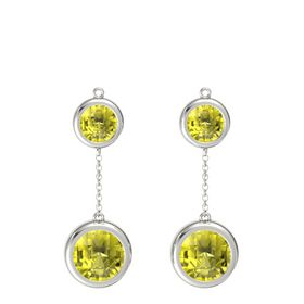 14K White Gold Earrings with Lemon Quartz