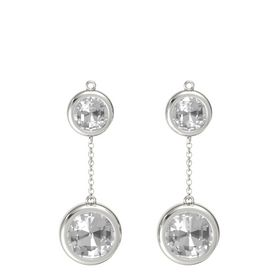 14K White Gold Earrings with Rock Crystal
