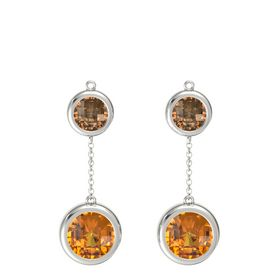 14K White Gold Earring with Citrine and Smoky Quartz