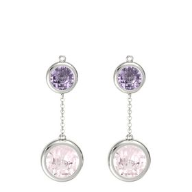 14K White Gold Earring with Rose Quartz and Rose de France