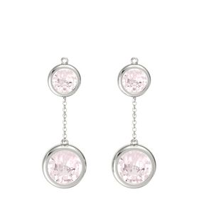 14K White Gold Earrings with Rose Quartz
