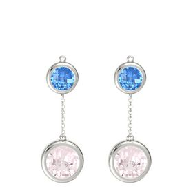 14K White Gold Earrings with Rose Quartz & Blue Topaz