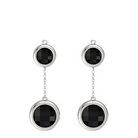 14K White Gold Earring with Black Onyx