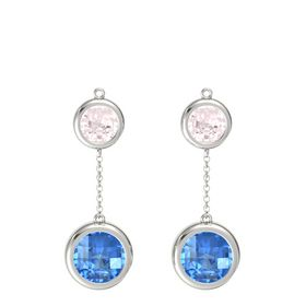 14K White Gold Earrings with Blue Topaz & Rose Quartz
