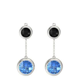 14K White Gold Earring with Blue Topaz and Black Onyx