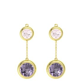 14K Yellow Gold Earring with Rose de France and Rose Quartz