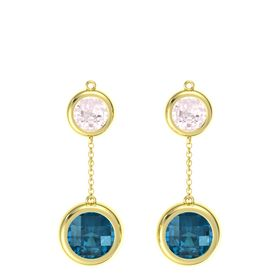 14K Yellow Gold Earring with London Blue Topaz and Rose Quartz