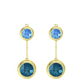 14K Yellow Gold Earring with London Blue Topaz and Blue Topaz