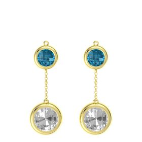 14K Yellow Gold Earring with Rock Crystal and London Blue Topaz