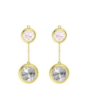 14K Yellow Gold Earring with Rock Crystal and Rose Quartz