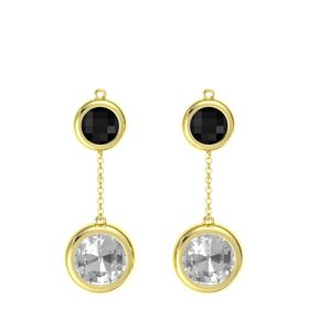 14K Yellow Gold Earring with Rock Crystal and Black Onyx