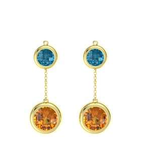 14K Yellow Gold Earring with Citrine and London Blue Topaz
