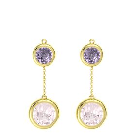 14K Yellow Gold Earring with Rose Quartz and Rose de France