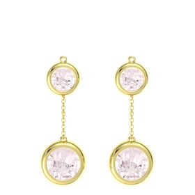 14K Yellow Gold Earrings with Rose Quartz