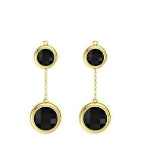14K Yellow Gold Earrings with Black Onyx