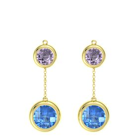 14K Yellow Gold Earring with Blue Topaz and Rose de France