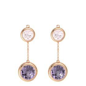 18K Rose Gold Earring with Rose de France and Rose Quartz