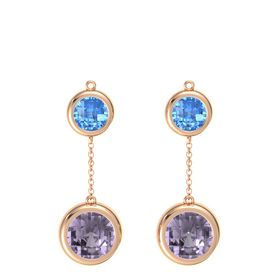 18K Rose Gold Earring with Rose de France and Blue Topaz