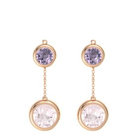 18K Rose Gold Earring with Rose Quartz and Rose de France
