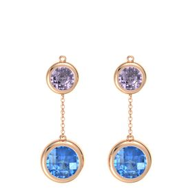 18K Rose Gold Earring with Blue Topaz and Rose de France
