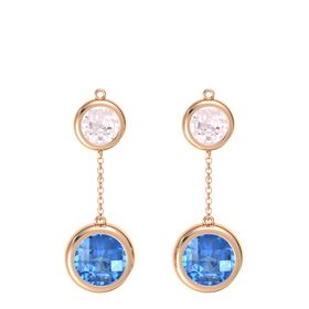 18K Rose Gold Earring with Blue Topaz and Rose Quartz