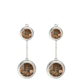 18K White Gold Earrings with Smoky Quartz
