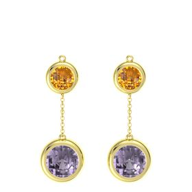 18K Yellow Gold Earring with Rose de France and Citrine